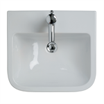 create square 50cm semi-countertop washbasin, 1 taphole
