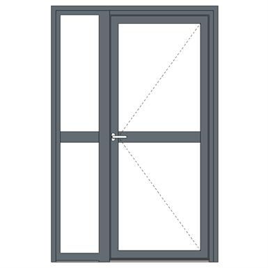Aluminium single fire door - with sidelight