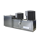 Modular Side/Down Discharge Direct Fired Heater Packaged Unit with Cooling Coil, Evaporative Cooling Intake and V-Bank