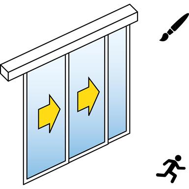 porte coulissante automatique (cadre fin) - 2 vantaux tele - avec parties fixes - montage entre murs - sl/psa