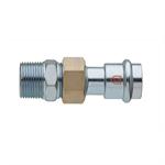 Straight union flat joint F x R thread - C-Steel press fitting - V profile - FRABOPRESS C-STEEL SECURFRABO