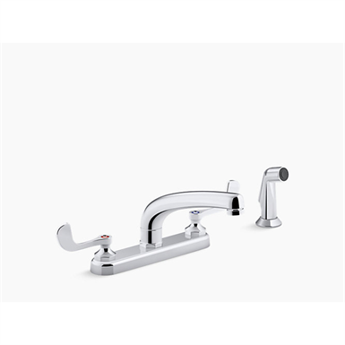 """Triton® Bowe® 1.5 gpm kitchen sink faucet with 8-3/16"""" swing spout, matching finish sidespray, aerated flow and wristblade handles"""