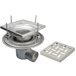 Adjustable Floor Drain with 12in. x 12in. Square Top, Small Sump, Side Outlet - BFD-140-SO