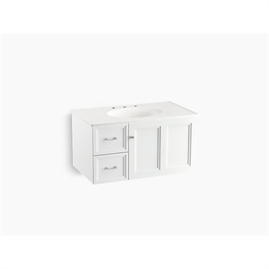 """Damask® 36"""" wall-hung bathroom vanity cabinet with 1 door and 2 drawers on left"""