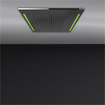 ACCIAIO - Встраиваемая в потолок душевая система 500x500. ТРОПИЧЕСКИЙ ЛИВЕНЬ.ВОДОПАД.РАСПЫЛЕНИЕ. ХРОМОТЕРАПИЯ. В комплекте пульт управлени я с держателем. Приобретаются дополнительно блок питания 12В арт. R5402 и накладная панель  - 57927