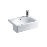 concept cube 50cm short projection semi-countertop washbasin, glazed back 2 tapholes