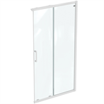 connect 2 corner / entry 110cm , door without handle,  white frame and clear glass