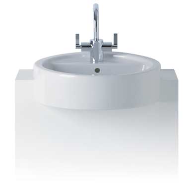 white semi-countertop washbasin, 45cm 1 taphole