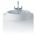 white semi-countertop washbasin, 45cm 1 taphole