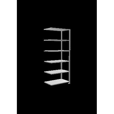 plug-in shelving system, extension shelving, multiplus150, 2600 x 1000 x 600 mm, 6 shelves, cross brace, galvanized