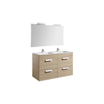 DEBBA 1200 Pack: Base unit w/ 4 drawers, basin, mirror and spotlight