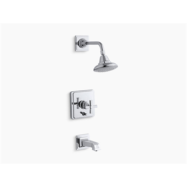pinstripe® rite-temp® pressure-balancing bath and shower faucet trim with cross handle, valve not included