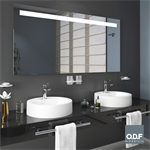 mirror with integrated horizontal led light band and defogger 140 x 70cm