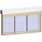 sliding window 2 rails 3 leaves with shutter