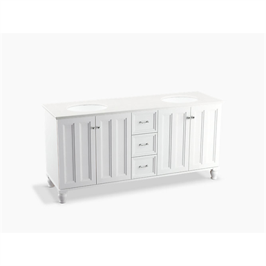 """Damask® 72"""" bathroom vanity cabinet with furniture legs, 4 doors and 3 drawers"""