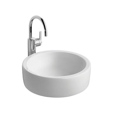 White Vessel Washbasin, 40cm Diameter, No Taphole