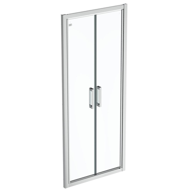 connect 2 saloon door 85 clear glass bright silver finish