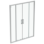 connect 2 slider door  150 clear glass bright silver finish