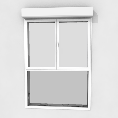Double window on fixed pane with shutter