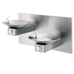 "Model 1011, ""Hi-Lo"" Wall Mounted Stainless Steel Drinking Fountains with Back Panel"