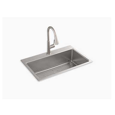 "prologue™ 33"" x 22"" x 9"" top-mount/undermount single-bowl kitchen sink kit"