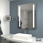 mirror with 2 vertically integrated led light bands and defogger 70 x 90cm
