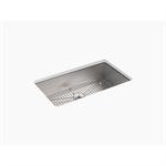 "vault™ 33"" x 22"" x 9-5/16"" top-/under-mount large single-bowl kitchen sink with 3 faucet holes"