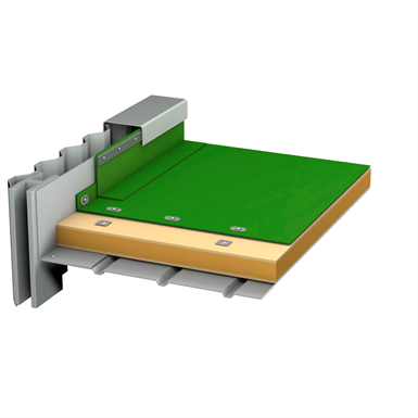 soprema - flag - synthetic tpo waterpoofing system with vapour barrier for metal deck