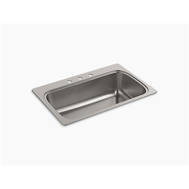 """verse™ 33"""" x 22"""" x 9-5/16"""" top-mount single-bowl kitchen sink with 3 faucet holes"""