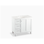 """damask® 36"""" bathroom vanity cabinet with furniture legs, 1 door and 3 drawers on left"""