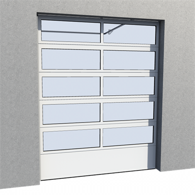 industrial glazed panel door 01 normal and high lift