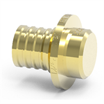 Brass end cap for PEX pipes