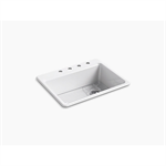 """riverby® 27"""" x 22"""" x 9-5/8"""" top-mount single-bowl kitchen sink with bottom sink rack and 4 faucet holes"""
