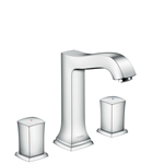 Metropol Classic 3-hole basin mixer 160 with zero handles and pop-up waste set 31305000