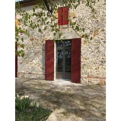 double pvc french door with shutter