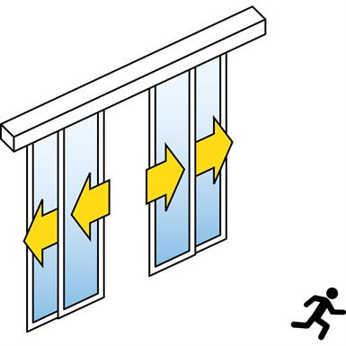 automatic sliding door (standard) - four leaf telescopic - no side panels - on wall - sl/psxp