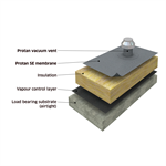 Protan Vacuum warm roof system on concrete substrate
