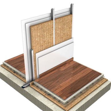 single drywall partition: 70 mm structure and double plasterboard (es)
