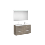 PRISMA 1200 Pack (base unit with four drawers, double bowl basin and LED mirror)