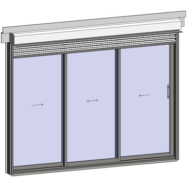 sliding window 2 rails 3 leaves with external venetian blinds
