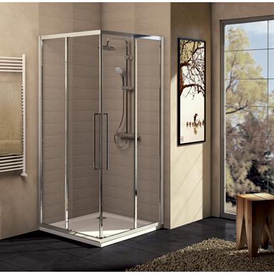 kubo porte de douche 100 cm verre satiné