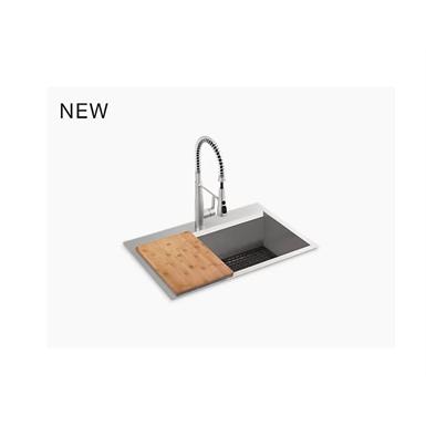"pro-inspired 33"" x 22"" x 9"" top-mount/undermount single-bowl kitchen sink kit"