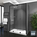 shower screen 1 fixed + 1 sliding panel + upper rod azur