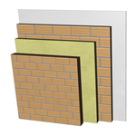ME04-c-b Double skin clay brick party wall, with thermal insulation and air cavity. LH10+C+AT+LH7+ENL