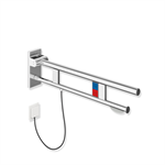 hinged support rail duo, design a with toilet roll holder and flush release/function button
