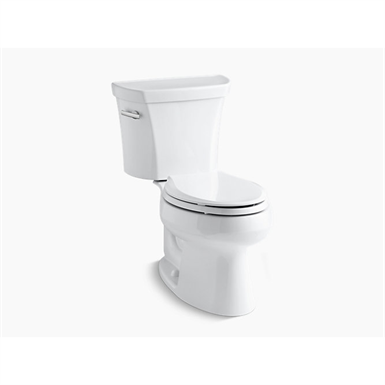 k-3998-u-0 wellworth® two-piece elongated 1.28 gpf toilet with class five® flush technology, left-hand trip lever and insuliner® tank liner