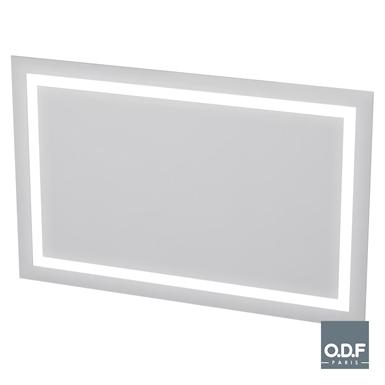 led leuchtspiegel mit versetzt umlaufender lichtbande und beschlagschutz 140 x 90cm