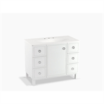 """jacquard® 42"""" bathroom vanity cabinet with furniture legs, 1 door and 6 drawers"""