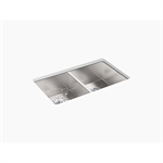 """vault™ 33"""" x 22"""" x 9-5/16"""" top-mount/undermount double-equal bowl kitchen sink with 4 faucet holes"""