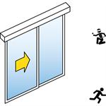 automatische schiebetür (einbruchhemmend rc2/rc3) - 1-flüglig - mit seitenteil - wandmontage - sl/psxp-rc